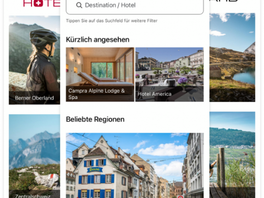 With the app you can find the best hotel deals in Switzerland anytime and anywhere and book them dir