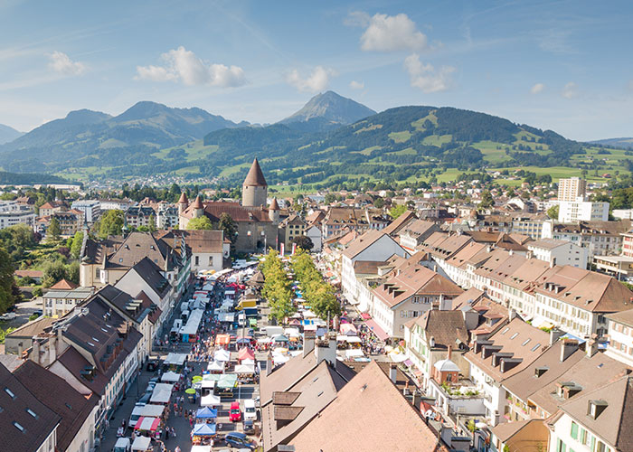 Fribourg Region - Old town of Bulle  With a population of about 23,000, Bulle is the second largest city in the Fribor