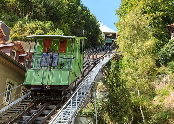 Hotels in Fribourg Region - FFThe Funiculaire  It is the last water ballast railway in Switzerland. No motor drives the funicula