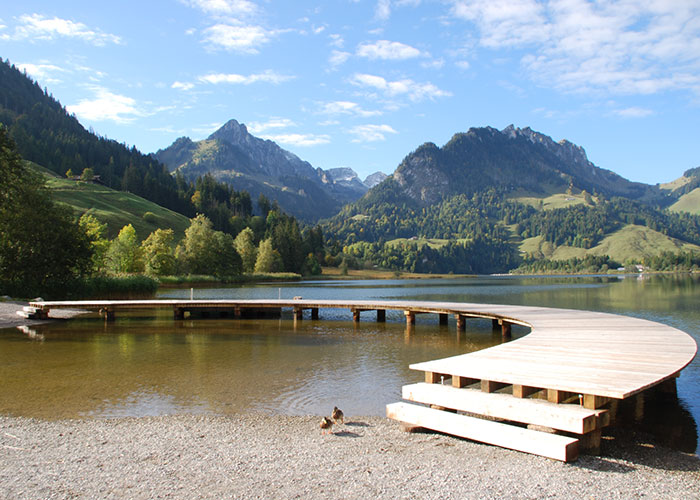 Hotels in Fribourg Region - Schwarzsee  The Schwarzsee, situated in the Senseland, in French Lac Noir, with its maximum depth of