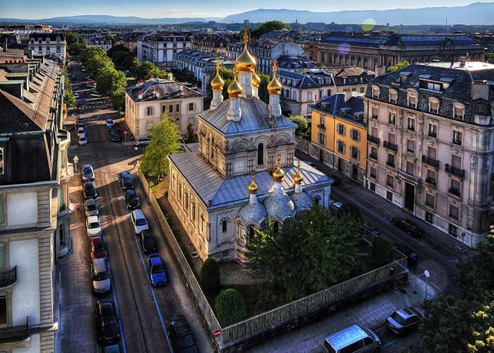 Hotels in Geneva Region - Russian Orthodox Church of Geneva  A few meters southeast of Geneva's old town is a magnificent Russ