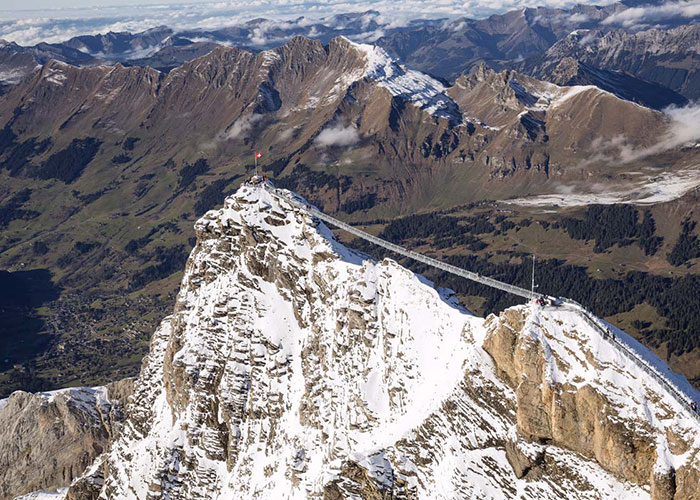 Region Genfersee - Suspension bridge between two mountain tops  In the skiing and hiking area Glacier 3000 there is som