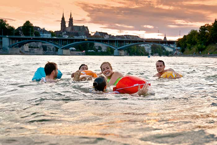 Basel Region - Rhine Swimming  For the people of Basel, bathing in the Rhine has long been one of the top leisure a